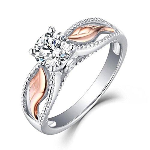 (Damen Mädchen Ehering Verlobungsring Ringe Mingfa 2018Rose Gold Engel Flügel Diamant Ring Party Schmuck, Legierung, Rose Gold, 9)