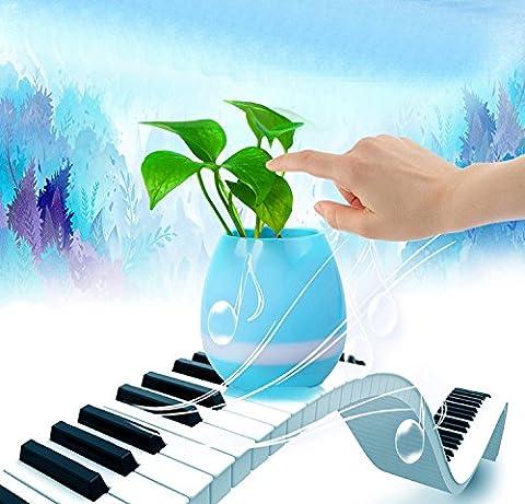 Cooleedtek [Choix de cadeau] Smart Haut-parleur Bluetooth Touch Piano lecture de musique batterie 2pots Pots de fleurs sans fil avec lumière de nuit pour bureau Home Decor (sans Plante)