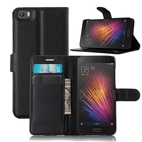 Tasche für Xiaomi Mi5 Hülle, Ycloud PU Ledertasche Flip Cover Wallet Case Handyhülle mit Stand Function Credit Card Slots Bookstyle Purse Design schwarz