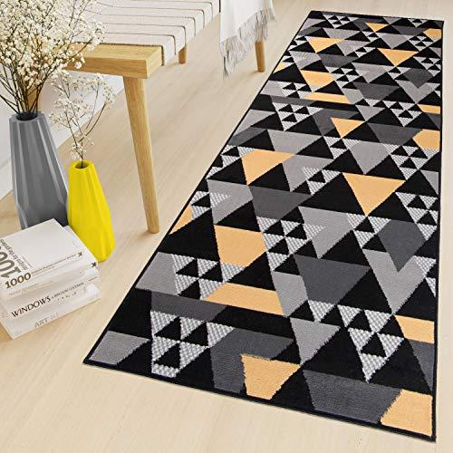 Tapiso maya tappeto passatoia al metro tappeto runner corridoio cucina nero giallo moderno geometrico a pelo corto 70 x 390 cm