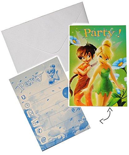 alles-meine.de GmbH 10 TLG. Set - Einladungskarten mit Umschlag -  Disney Fairy - Tinkerbell  - Party Einladung Karte Karten - Kindergeburtstag - Fairies Einladungen - für Mädc..
