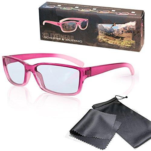 Passive 3D Brille für Kinder - Pink/Transparent - Polfilterbrille zirkular polarisiert - Für RealD 3D Kino & TV - Inkl. Mikrofaser Brillenbeutel und Putztuch