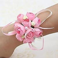 Handgelenk Blumen Hochzeits Versorgungsmaterial Hochzeits Brautjungfern Handgelenk-Blumen-Hochzeits-Schwestern Handblumen-koreanische Art-künstliches Perlen-Tuch-Handgelenk-Blumen-Hochzeits-Dekoration