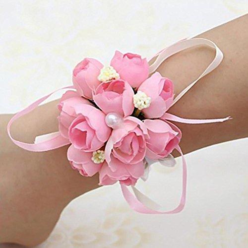 Welltobuy Hochzeit Braut Handgelenk Blume Hochzeit Schwestern Hand Blume Handgelenk Blume für Braut Brautjungfer ideal für Hochzeit, Abschlussball, Party