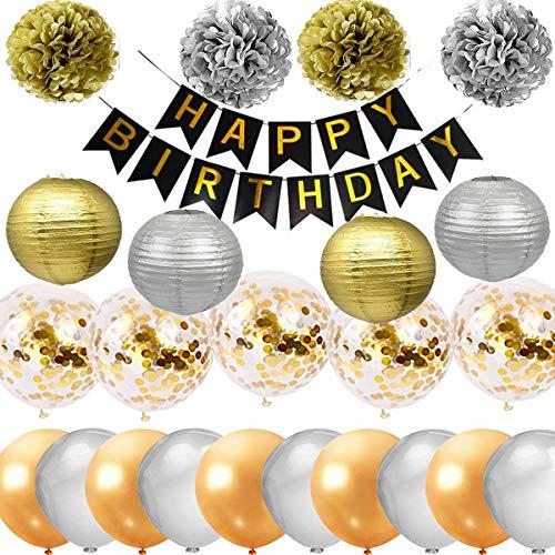 Fiesta de feliz cumpleaños Decoraciones Suministros Dorado y plateado FELIZ CUMPLEAÑOS Banner Bunting 4 linternas 4 Flores de tejido Pom Poms 5 Globos de confeti dorados 5 globos de oro y 5 de plata