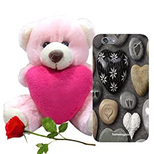Homesogood Lovely Heart Shaped Stones Grey 3D Mobile Case for iPhone 6 (Back Cover) with Teddy & Red Rose