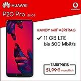 Huawei P20 Pro (blau) 128GB Speicher Handy mit Vertrag (Vodafone Smart XL) 11GB Datenvolumen 24 Monate Mindestlaufzeit