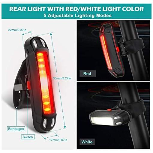 OMERIL Luci LED per Bicicletta Ricaricabili USB con Comando Remoto e Clacson