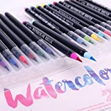 #4: Climberty Watercolor Brush Pen Set - 20 Premium Colors - Real Brush Tip - 1 Refillable Water Pen - Washable Nontoxic Marker - Durable - Portable Painting