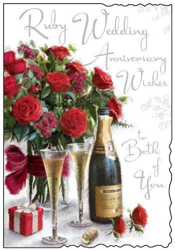 Biglietto Di Auguri Per Anniversario Di Matrimonio Ruby Wedding Jj1085