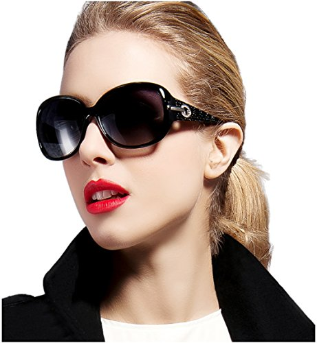 ATTCL® Women Polarized UV400 Sunglasses Fashion Plaid Oversized Sunglasses 6214 Black