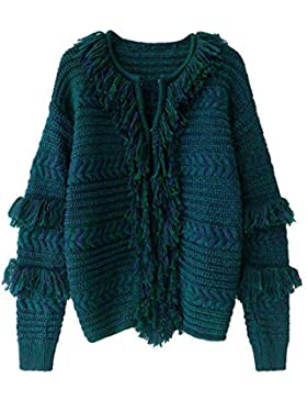 LLXYM Otoño E Invierno Verde Oscuro Mixed Color Tassel Knit Sweater Cardigan Coat Mujer,Green,S