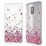 NALIA Handyhülle kompatibel mit Samsung Galaxy A8 (2018), Hülle Crystal Silikon Motiv Etui Case, Dünne Transparente Schutzhülle Cover, Durchsichtiger Handy-Taschen Bumper, Designs:Pinkheart