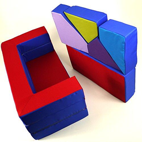Spielsofa 4in1 Kindersofa Spielmatraze für das Kinderzimmer Spielpolster Softsofa blau/rot Puzzle Kinderzimmersofa Spieltisch Kindermöbel - 5