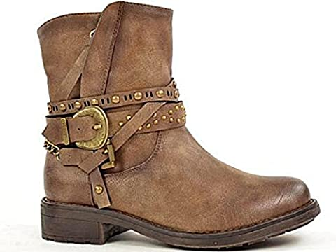 Ladies 430705 Fabs Faux Leather Buckle Flat Fashion Western Biker Ankle Boots Size 3-8 (UK 4, Taupe)