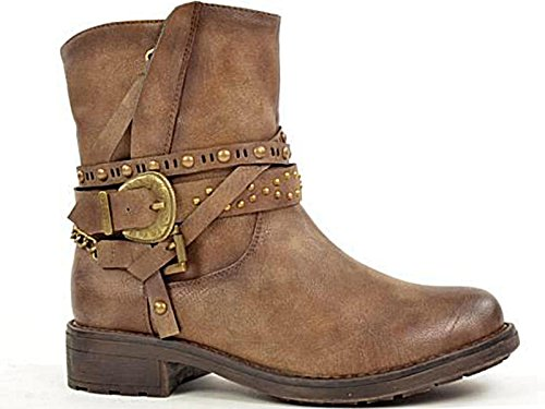 Ladies 430705 Fabs Faux Leather Buckle Flat Fashion Western Biker Ankle Boots...