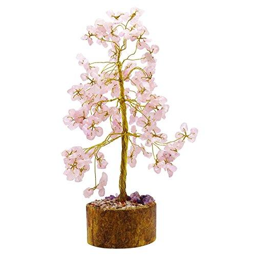 Árbol Cuarzo Rosa Piedras preciosas Reiki Espiritual Bonsai Vastu Feng Shui Tabla Decoración