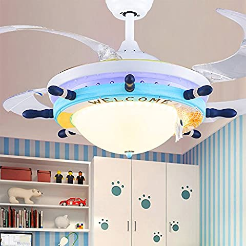 Mediterraneo Led ventilatori a soffitto home decor lights 110V-220V LED lampada pendente camera ragazzi,verde