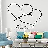 SLQUIET Romance personalizable Te amo pegatinas de pared decoración de dormitorio extraíble decoración de fiesta en casa papel tapiz de pegatinas de pared para el hogar Rosa XL 58cm X 74cm