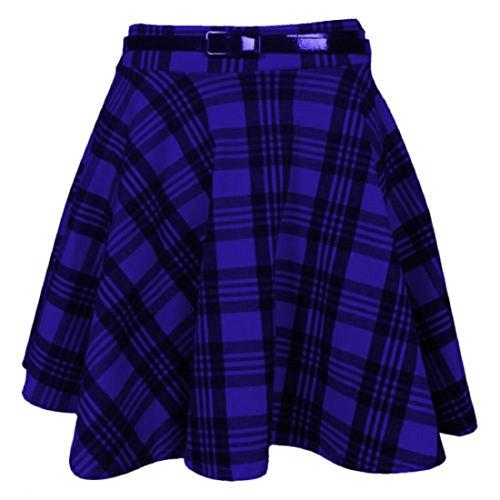 femmes neuf tartan à carreaux imprimé DAMES Court Mini fin Détachable Taille Jupe évasée ceinture patineuse plissée rouge jupe Blue Tartan Print