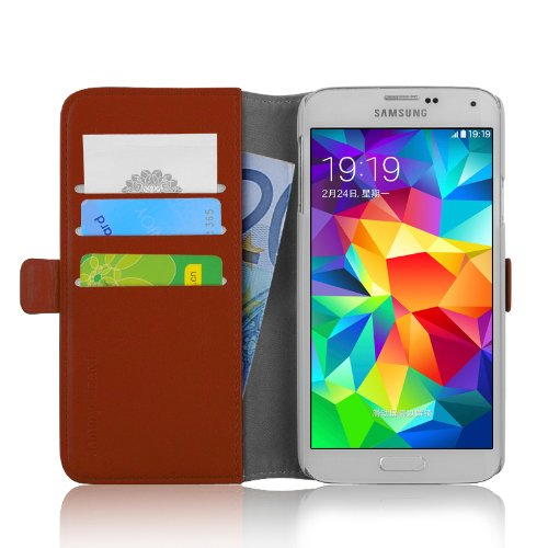 JAMMYLIZARD Cover Galaxy Ace 3, [Luxury Wallet] Custodia a Libro Portafogli in Pelle per Samsung Galaxy Ace 3, MARRONE