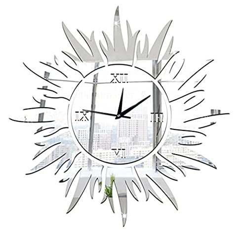 Demiawaking Stylish 3D Sun Shaped Wall Clock DIY Mirror Roman Numerals Wall Clock Silent Non Ticking for Living Room Bedroom Kitchen Home
