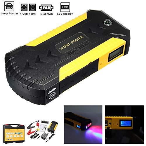 WANGTAO 12V Tragbare Auto Starter Für Autobatterie Booster 600A Peak 16000Mah Akku Emergency Booster Kit (Bis 6,0 L Gas Oder 4,0 L Diesel Motor) -
