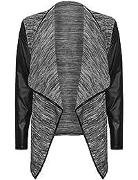 FashionMark - Damen Der Frauen PVC - Wetlook Langarm Vorne Offen Boyfriend Blazer Wasserfall Cardigan (36/38, Grau)