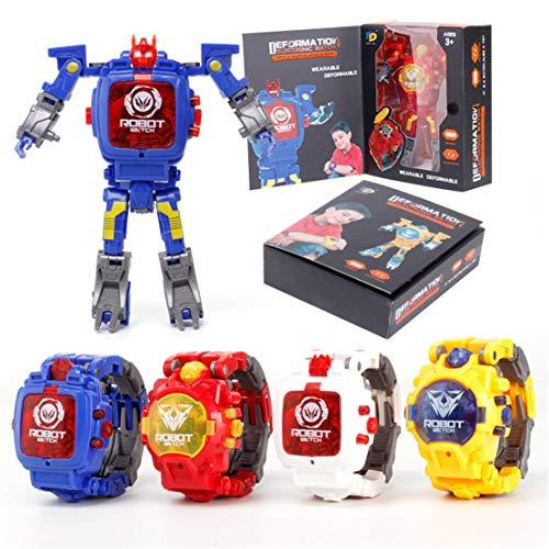 AZerFashion Transformers Toys Watch 2 in 1 Electronic Transformers Toys Watch Deformed Robot (Pink)