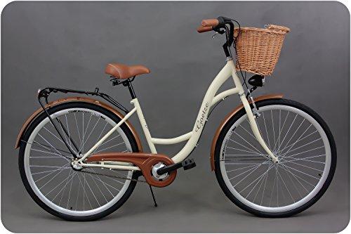 Goetze Classic 28 Zoll Damen Citybike Stadtrad Damenfahrrad Damenrad Hollandrad Retro-Design 3-Gang Korb Hinterradbremse LED-Beleuchtung Beige