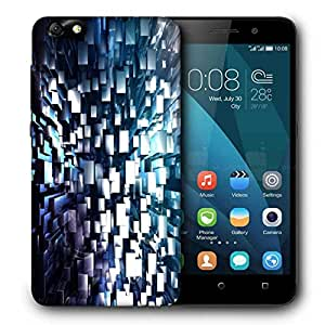 Snoogg Abstract Grey Blocks Printed Protective Phone Back Case Cover For Huawei Honor 4X