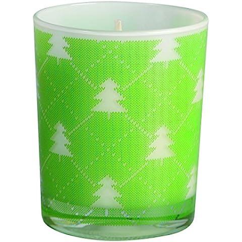 Vela navideña. Vela vaso árbol de navidad.Vela de cera vegetal. El soporte de esta vela es un vaso con abetos navideños en color verde. La vela es de cera. Medidas de la vela vaso árbol de navidad, 7,5 x 9 cm de alto.