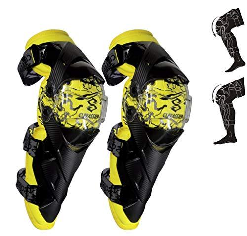 DUBAOBAO Moto Chevalier équipé d'un équipement de Protection, Racing SUV Anti-Chute Anti-Collision Genou Guard, Protection Moto Pad, Anti-Chute du Genou Dispositif de Protection,Yellow