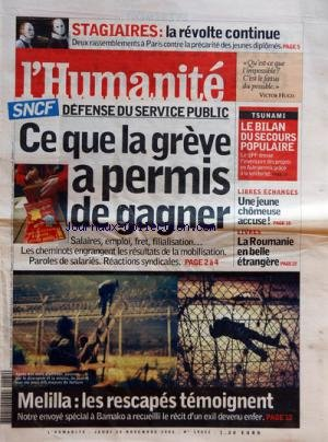 HUMANITE (L') [No 19052] du 24/11/2005