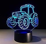 benbroo Fernbedienung Lampe 3D Visual LED Nacht 7Farben Traktor Modell Muster auf Acryl Board mit TeleController USB Schreibtisch NACHT