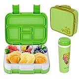 LAKIND Lunch Box, Porta Pranzo, Kids Bento Box con 5 Scomparti e Posate, Adatto a Microonde e Lavastoviglie (Verde + Coppa d'Acqua)
