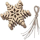 Toyvian 10pcs Wooden Christmas Tree Decorations Ornaments Wooden Christmas Embellishments Snowflake Blank Wood Gift Tags Crafts Wood Slices With Holes 8x8cm