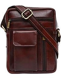 Genuine Leather Unisex Cross-Body Bag (Brown)