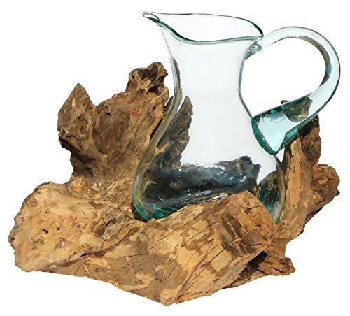 Balibarang-Shop Geschenk Deko Gamal Wurzelholz 1,5 L Kanne Glas Vase Wurzel Holz Teakholz Krug L (Glas-krug-vase Große)