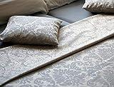 Leinen Lodge Dekostoff Damast Natur EXTRABREIT Ranken Baumwolle *** 50 cm x 280 cm ***