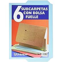 Unipapel 96244L - Pack de 6 subcarpetas con bolsa fuelle, color azul