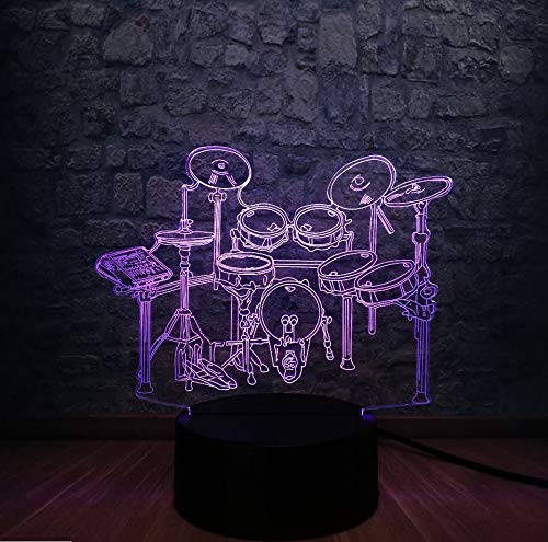 Jazz Batería Set 3D Led Night Illusion Lámpara Multicolor Degradado Aficionados A La Música Regalo Para Niños ()
