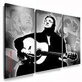 Johnny Cash LeinwandBild 3Teilig Bild fertig auf Keilrahmen ! Pop Art Gemälde Kunstdrucke, Wandbilder, Bilder zur Dekoration - Deko. Musik Stars Kunstdrucke
