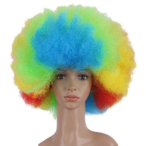 0cm Mischfarbe Urlaub Kurze Explosive Kopf Fan Clown Karneval Team Perücke (Rot/Gelb/Grün/Blau) (Lockige Clown Perücke Gelb)