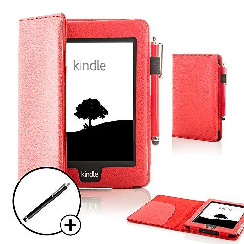azon Kindle Voyage Smart Hülle Schutzhülle Tasche Bumper Folio Smart Case Cover Stand - Extra Robust mit Rundum-Geräteschutz und intelligente Auto Schlaf / Wach Funktion inkl. Eingabestift (ROT) ()