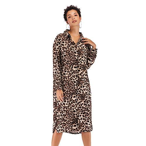 SJZC Leoparden-Kleid mit Knopfleiste, Khaki, m