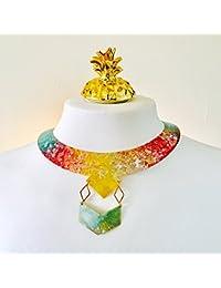 Collar luz de la luna geométrico - Joya luna cresciente multicolor - Joyas design - Bisutería boho chic - Collar festival - Regalo para ella