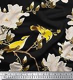 Soimoi Schwarz Seide Stoff Blumen & Blätter Vogel Vogel