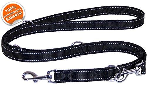 Hunde-Leine Doppelleine Schwarz | Verstellbar in 4 Längen 1,1 m – 1,8 m | für große und mittlere Hunde | gratis eBook