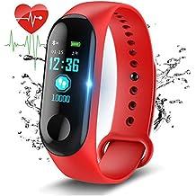 Fitness Trackers,Pantalla de color Impermeable monitor de ritmo cardíaco Pulsera inteligente Podómetro Contador de